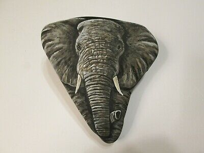 African Elephant hand painted on a rock Ann Kelly