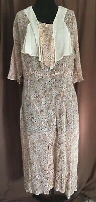 1900s 1910 1920s Antique Day Tea Dress Vintage calico Floral Thin Cotton