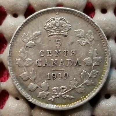 1919 Canada 5 Cents Silver Coin