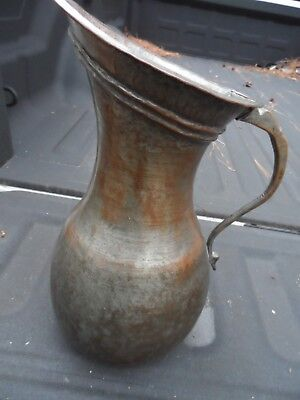 "Antique / Vintage Copper Water Pitcher Ewer 13"" Arts and Crafts"