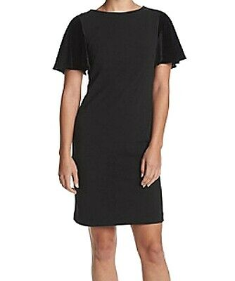 fa588c88 Calvin Klein NEW Black Womens Size 10 Velvey-Sleeve Sheath Dress $134 227