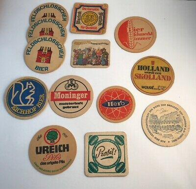 Vtg BEER Advertising Drink Coasters LOT Hero Moninger Prosit Ureich Eichhof ETC