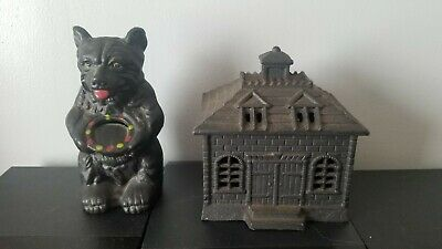 Vintage Cast Iron Black Honey Bear and Church Banks! Heavy Solid!