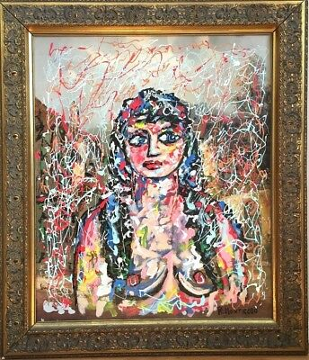 Vintage Outsider Abstract Oil Painting Portrait Nude