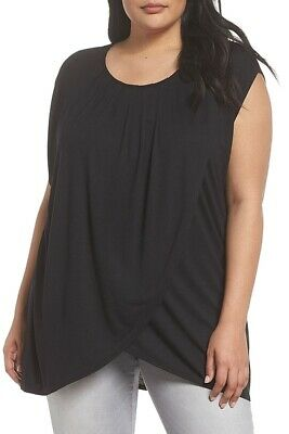 ca19ce092 Sejour NORDSTROM NEW Black Womens Size 2X Plus Pleated Cap Sleeve Blouse  $69 675