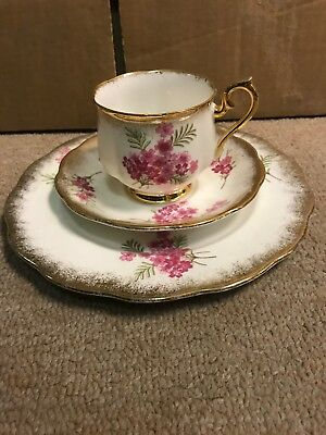 Three Piece Luncheon - ROYAL ALBERT Cup Saucer & Plate - Pink Flowers Gold Trim
