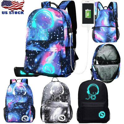 Galaxy School Bag Backpack Collection Canvas USB Charger for Teen Girls Kids