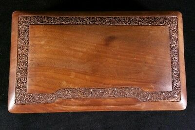 Vintage Hardwood Jewelry Box With Carved Floral Borders And Divided Interior EXC