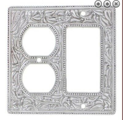 Vicenza Designs WP7018 San Michele Wall Plate with Triple Toggle and Dimmer Opening Antique Silver