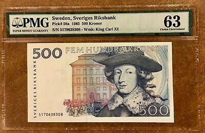 Sweden  1985 500 Kronor  P58a   PMG 63 Choice uncirculated