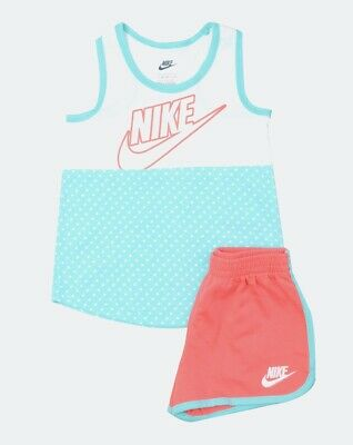 Nike NEW Blue Coral Baby Girls Size 24 Months Futura Shorts Tank Set $30 372