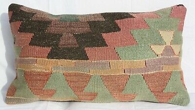 "TURKISH KILIM RUG LUMBAR PILLOW CUSHION COVER HAND WOVEN WOOL 22"" x 13"""