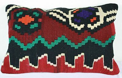 Turkish Kilim Lumbar Pillow 22x14, Kilim Rug Lumbar Cushion Cover