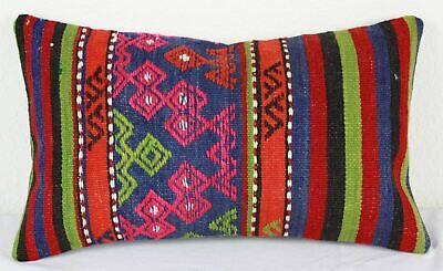 Turkish Kilim Lumbar Pillow 20x12, Kilim Rug Lumbar Cushion Cover