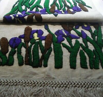 """Fabulous Antique Arts and Crafts Table Runner - Purple Iris & Cattails - 72"""" L"""