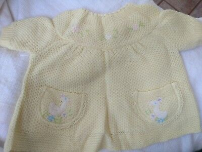 A little Angel original Sweater Vintage baby yellow knitted Infant 3-6 mo