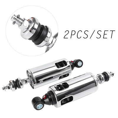 """285mm 11.2"""" Rear Air Shock Absorbers Adjust Chrome for Harley FXST FXSTB FLSTF"""