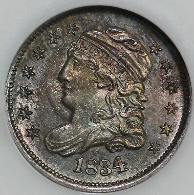 1834 H10c Capped Bust Half Dime NGC and CAC MS 64