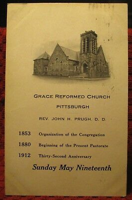 1912. Grace Reformed Church. Pittsburgh, Pa. Rev. Prugh. Postcard L2