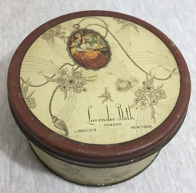 Langlois Inc. Vintage Lavender Bath Tin Box With Powder Leftover