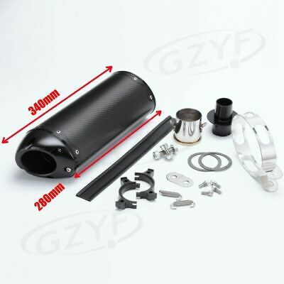 Universal Exhaust Muffler Silencer Pipe Replacement Carbon Fiber Slip On 340mm