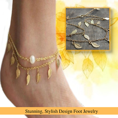 Jewelry & Watches Stunning Adjustable Foot Chain Gold Plated Leaf Charms Tassel Anklet Bracelet