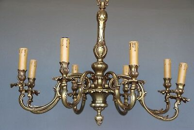 Large vintage antique French Rococo solid brass chandelier 8 cast baroque arms