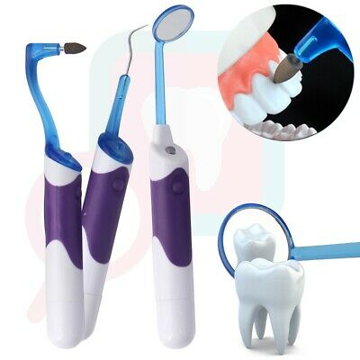 LED Dental Care Oral Clean Mirror Stain Eraser Tooth Polisher Plaque Remover Kit
