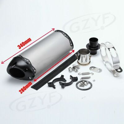 Universal Motorcycle Exhaust Muffler Silencer Pipe Slip On Stainless Steel 340mm