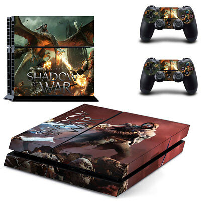 Playstation 4 PS4 Console Skin Decal Sticker Shadow of War + 2 Controller Skin