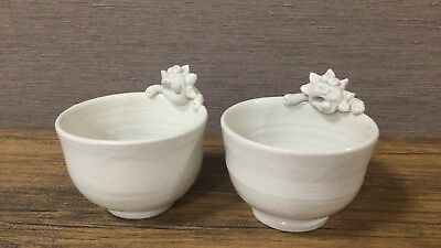 Okinawa Japan limited Shisa cup pottery gift white 2 pieces  F/S