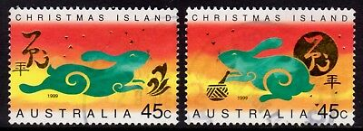 1999 Christmas Island Lunar New Year of the Rabbit Pair Fine Used