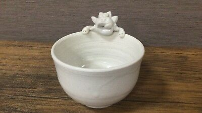 Okinawa Japan limited Shisa cup pottery gift white  F/S