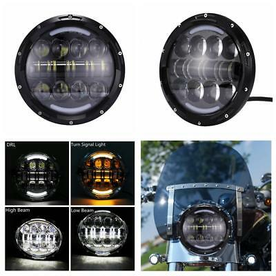 7'' Round 80W LED Headlight Hi/Lo Beam H4 H13 Fit Harley Road King Street Gilde