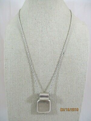"""Sterling Silver Engrave-able Square Pendant Necklace 20"""" Long"""