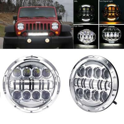 Pair 7Inch LED Headlights Hi/Lo beam DRL Turn signal Headlamp Fits Jeep Wrangler