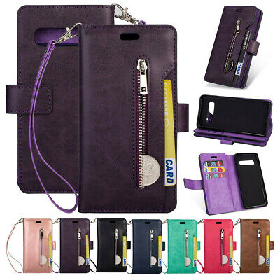 Leather Flip Zipper Strap Wallet Case Cover For Samsung Note 9 S10e S10+ S9 Plus