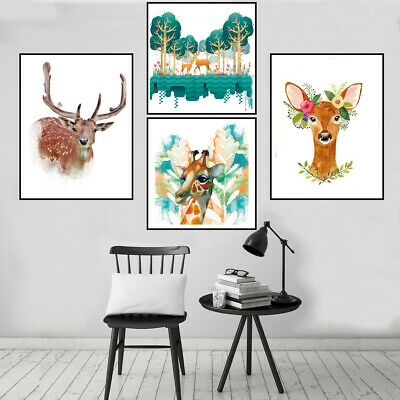 Nordic Deer Animals Watercolor Canvas Oil Painting Poster Home Art Wall Decor