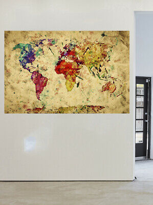 map of world wall artwork painting print art canvas art vintage poster