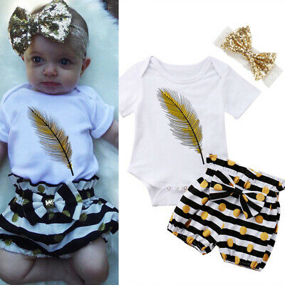 3PCS Newborn Baby Girls Feather Tops Romper Shorts Headband Outfits Set 0-24M