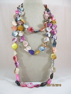 """Multi-Color Shell Beaded Endless Strand Necklace 68"""" Long"""