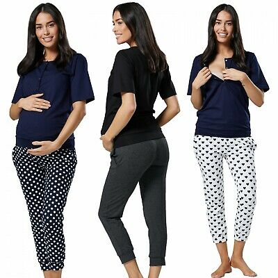Happy Mama. Women's Maternity Nursing Pyjama Set Loungewear Cropped Pants. 071p