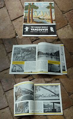 1930s VANCOUVER BRITISH COLUMBIA CANADA TOURISM BROCHURE, 20 PAGES