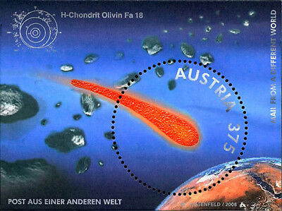 AUSTRIA 2006 MAIL FROM A DIFFERENT WORLD METEORITE DUST PARTICLES Unique STAMP