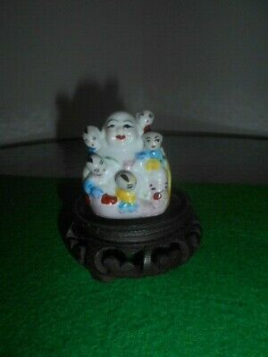 Buddha Antique,China Porcelain Laughing Seated Statue Signed Marked wood based
