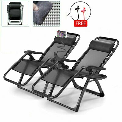 2X Heavy Duty Zero Gravity Folding Lounge Beach Chairs Square Frame+Holder