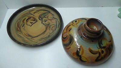 Lucy Hatton Beck Cheese Dome Plate Australian Pottery Studio Ceramics Signed