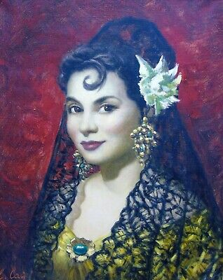 20th Century Oil on Canvas Portrait of Young Spanish Woman C. Cay