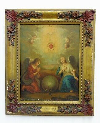 17th Century Italian Old Master Religious Oil on Canvas Sacred Heart of Christ