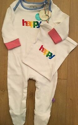 Mothercare Little Bird By Jools Oliver HAPPY Baby Grow & Bag 6-9 Months 🌈🍄🌈